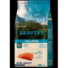 BRAVERY SALMON ADULT DOG MINI, натурална, хипоалергенна храна, БЕЗ ЗЪРНО за пораснали кучета от дребни и мини породи над 1 година, със сьомга, Испания - 2 кг