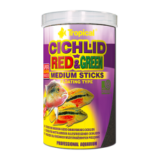 TROPICAL Cichlid Red&Green Medium Sticks - храна със спирулина и астаксантин за средно големи цихлиди