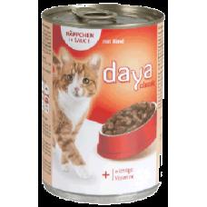 DAYA – Говеждо месо в сос грейви, пълноценна храна за израснали котки, консерва, Германия - 400 гр