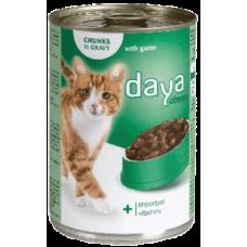 DAYA –  Месо от дивеч в сос грейви, пълноценна храна за израснали котки, консерва, Германия - 400 гр