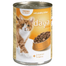 DAYA – Пилешко месо и черен дроб в сос грейви, пълноценна храна за израснали котки, консерва, Германия - 400 гр