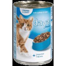 DAYA –  Сьомга и риба тон в сос грейви, пълноценна храна за израснали котки, консерва, Германия - 400 гр
