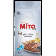 MITO CAT ADULT MIX CHICKEN & FISH - суха храна за пораснали котки от всички породи, над 1 година - пилешко месо и риба, Турция - 15 кг