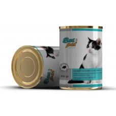 Консерва за котки BasPet с говеждо, подходяща за пораснали котки над 1 година, 0,415 кг, NUGAPE Испания