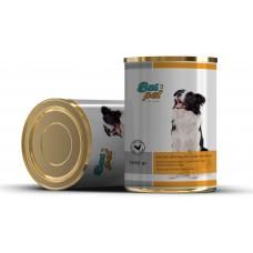 Консерва за кучета BasPet с пиле, подходяща за пораснали кучета над 1 година, 0,415 кг, NUGAPE Испания
