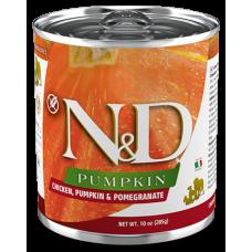 N&D Pumpkin Dog Chicken, Pumpkin & Pomegranate ADULT GRAIN FREE - консерва за пораснали кучета над 1 година, с пиле, тиква и нар, БЕЗ ЗЪРНО, 285 гр Италия