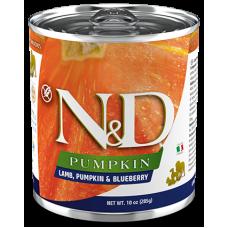 N&D Pumpkin Dog Lamb, Pumpkin & Blueberry ADULT GRAIN FREE - консерва за пораснали кучета над 1 година, с агнешко, тиква и боровинки БЕЗ ЗЪРНО, 285 гр Италия