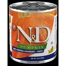 N&D Pumpkin Dog Lamb, Pumpkin & Blueberry PUPPY GRAIN FREE - консерваза подрастващи кученца и бременни или кърмещи кучета с агнешко, тиква и боровинки БЕЗ ЗЪРНО, 285 гр Италия