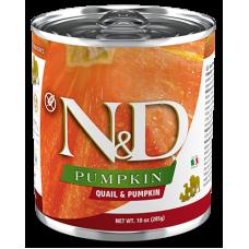 N&D Pumpkin Dog Quail & Pumpkin ADULT GRAIN FREE - консерва за пораснали кучета над 1 година, с пъдпъдък и тиква, БЕЗ ЗЪРНО, 285 гр Италия