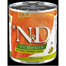N&D Pumpkin Dog Boar, Pumpkin & Apple ADULT GRAIN FREE - консерва за пораснали кучета над 1 година, с глиганско, тиква и ябълка, БЕЗ ЗЪРНО, 285 гр Италия