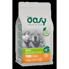 Oasy ADULT MEDIUM - LARGE Pork Monoprotein пълноценна храна за пораснали кучета над 1 година, от средни и едри породи, със свинско месо, БЕЗ ЗЪРНО, 12 кг - Италия