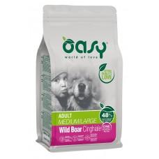 Oasy ADULT MEDIUM - LARGE WILD BOAR Monoprotein пълноценна храна за пораснали кучета над 1 година, от средни и едри породи, с глитанско месо, БЕЗ ЗЪРНО, 12 кг - Италия