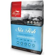 Orijen Dog Six Fish Adult GRAIN FREE - суха храна за кучета от всички породи, над една година, с шест вида риба, БЕЗ ЗЪРНО, Канада - 11,4 кг