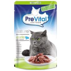 PREVITAL – пауч Сьомга за кастрирани котки в сос, деликатесна храна за израснали котки от всички породи, Унгария - 85 гр