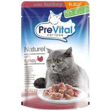 PREVITAL – пауч Пуешко месо в желе, деликатесна храна за израснали котки от всички породи, Унгария - 85 гр