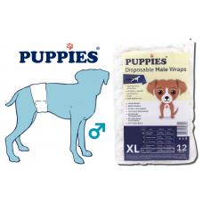 PUPPIES памперс гащи за мъжки кучета, размер L, обиколка талия - 55,8 - 68,5 см, до 15,8 - 24,9 кг 12 броя в опаковка