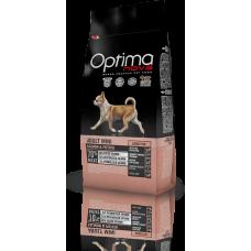 OPTIMA NOVA ADULT MINI SENSITIVE SALMON & POTATO (сьомга и картофи) 70% месо GRAIN FREE, Хипоалергична, Суперпремуим храна за кучета над 10 месеца, подходяща за кучета с деликатна кожа и/или деликатен стомах 8 кг
