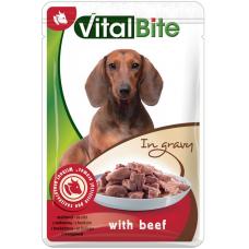 VITALBITE – пауч с говеждо месо в сос грейви, Деликатесна храна за израснали кучета от всички породи, Унгария - 85 гр