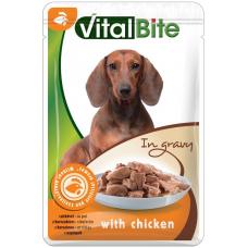 VITALBITE – пауч с пилешко месо в сос грейви, Деликатесна храна за израснали кучета от всички породи, Унгария - 85 гр